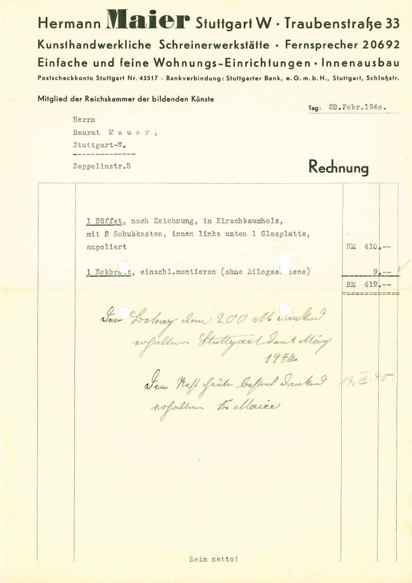 Rechnung aus dem Jahre 1940